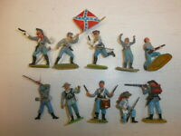 Konvolut 10 alte Elastolin Kunststoff Figuren Bürgerkrieg USA Südstaatler zu 4cm