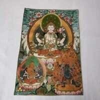 "36"" Tibet Tibetan Cloth Silk 4 Arm Guanyin Kwan-yin Tangka Thangka Mural #7"