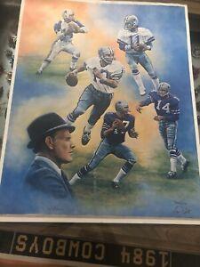 """C1980's Dallas Cowboys Authentic Lithograph By Artist Dan Gates 29X23"""" 364/1000"""