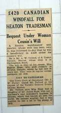 1939 Mr A W Telford 6 Tosson Terrace Heaton £420 Windfall