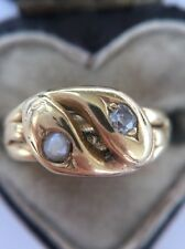 Antique Snake Serpent Ring Double Coiled Twist Unusual Diamond Pearl Eyes