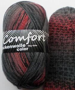 7,50€/100g - Sockenwolle 100g, grau - blass rot, 4-fach,Comfort Wolle (919.06)