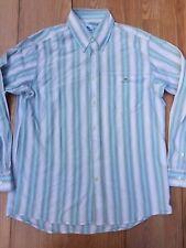 Lacoste Mens 40 Medium Button Front Shirt Long Sleeve Blue Off-White Stripe 3#G7
