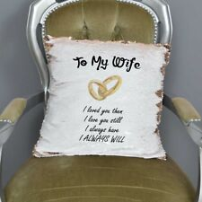 To My Wife Sequin Cushion Magic Reveal Mermaid | Wedding | Reversible Sequin