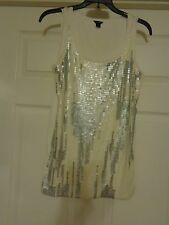 Ladies S / sleevelss, ivory with sequin covered front A+ conditon SHIPS FREE