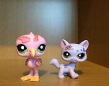 Littlest Pet Shop Purple Cat And Pink Flamingo Deco RARE. RETIRED