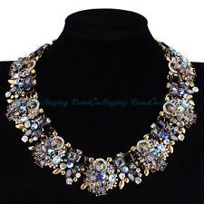 US Statement Vintage Gold Colorful Glass Rhinestone Crystal Choker Bib Necklace