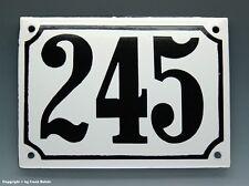 EMAILLE, EMAIL-HAUSNUMMER 245 in SCHWARZ/WEISS um 1960