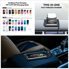 5W/7.5W/10W Car Qi Wireless Charger Pad 2 in 1 Fast Charging Dock Non-slip Mat