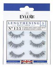 (Multi-Pack 3 PAIRS) Eylure Naturalites #155 False Eyelashes Fake Lashes Black