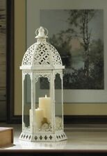 "Graceful Distressed White Candle Lantern w/ Scalloped Flourishes Large 20"" High"