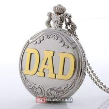 Antique DAD Silver Pattern Quartz Pocket Watch Necklace Chain Pendant*
