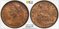 PCGS MS-64 RED-BN GREAT BRITAIN HALFPENNY 1/2 PENNY 1886 (LOTS OF RED!)