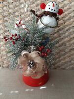 Winter/Christmas Frosty Snowman Frosty Pine Arrangement/Centerpiece  Gift Giving