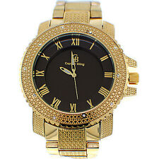 MENS ICED OUT GOLD/BLACK CAPTAIN BLING ICE NATION HIP HOP WATCH WITH METAL BAND