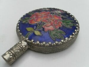 STUNNING INLAID ENAMEL FLORAL & BUTTERFLY ART DECO STYLE LADIES HAND MIRROR