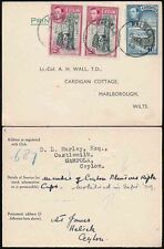 CEYLON 1940 PLANTERS RIFLE CORPS MARLEY SERVICES CLUB CARD HALIELA to WILTS GB