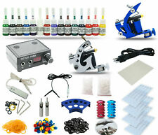 Complete Tattoo Kit&2 Coil Machine Guns Set Power Supply 15 Color Inks tk22