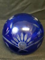 Czech Bohemian Cobalt Blue Cut to Clear Paper Weight Art Glass Orb Sphere