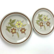Vintage Autumn Collection Stoneware Wheat Flower 2 pc  Dinner Plates