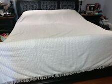 Vintage Chenille Fringe Bedspread White Cotton 118 x 114