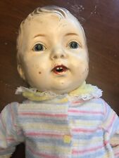 """Antique Composition Male Doll 22"""" straw filled"""