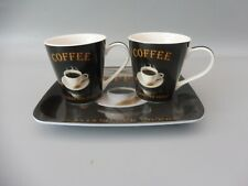 PIMPERNEL  TWO COFFEE MUGS & TRAY