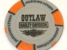 Harley Poker Chip  OUTLAW  HD   BLUE SPRINGS, MO   GRAY & ORANGE
