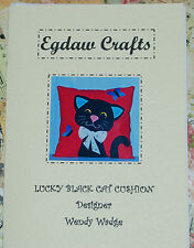LUCKY BLACK CAT APPLIQUE CUSHION SEWING PATTERN WENDY WADGE