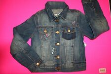 NWT GAP KIDS TRUE COLORS DESTRUCTED 1969 DENIM EMBROIDERED JEAN JACKET XS 4-5