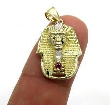 2.10 Gr Small Mens Ladies 10k Yellow Real Gold king Tut Egypt Charm Pendant
