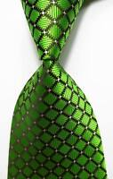 New Classic Checks Green Black White JACQUARD WOVEN 100% Silk Men's Tie Necktie
