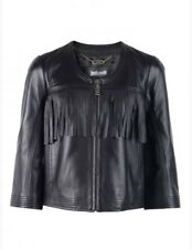 Just Cavalli By Roberto Cavalli Women Black Fring Leather Jacket 3/4 Sleeve 38
