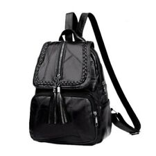 Women Black PU Leather Backpack Travel Shoulder Bag Handbags Rucksack Backbag