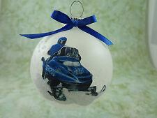 M002 Hand-made Christmas Ornament - snow SNOWMOBILE snowmobiling sled - blue