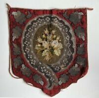 Antique Victorian Glass Beadwork and Needlepoint Fire Screen Panel for Pillow ?