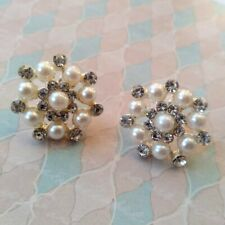 New Silver Tone Clear Crystal White Faux Pearl Cluster Earrings