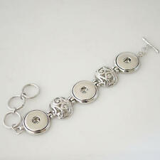 Bracelet Interchangeable Jewelry Button 18mm Fits Ginger Snaps Three Snap Silver