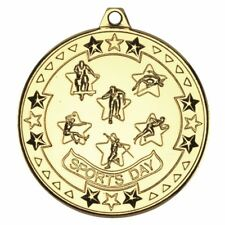 SPORTS DAY 'TRI STAR' MEDAL - GOLD 2in PACK OF 100