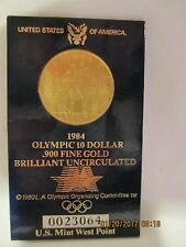 1984 USA GOLD $10 DOLLARS OLYMPICS PROOF U.S. MINT WEST POINT