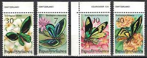 PAPUA NEW GUINEA:1975 SC#415-18 MNH Birdwing Butterflies p172