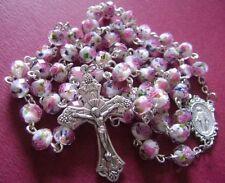 PINK ROSE Veluriyam BEADS & ITALY CROSS crucifix MADEL Catholic Handmade ROSARY