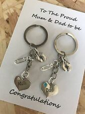 The Proud Mum Dad to be pregnancy charm keyrings - baby shower gift