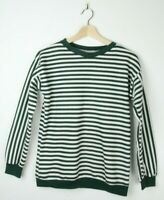 VINTAGE WOMENS SWEATER - Sz S - Green White Stripes - Jumper Pullover Winter