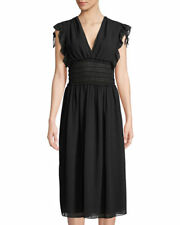 Max Studio Smock-Waist V-Neck Dress  Black NWT Sz S