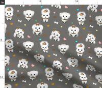 Dog Pup Catia Cho Art Maltese Catia Lee Spoonflower Fabric by the Yard