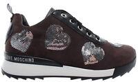 LOVE MOSCHINO Scarpe Donna Sneakers Power25 Camoscio Taupe PL Grigio Italy New