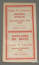 Original 1921 Louis A. Larivee's Boxing Annual Book
