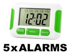 Digital Clock with 5 x Separate Alarms Stop Watch Timer Pill Box Reminder Pocket