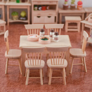 1 Set Dining Table Chair 1:12 Dollhouse Miniature Mini Wooden Furniture Toy Gift